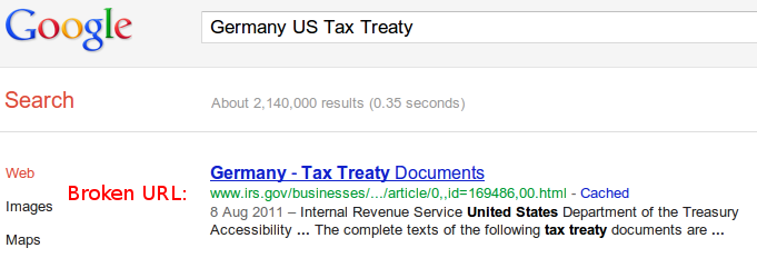 Picture of a Google search for the tax treaty with Germany, which leads to a dead end on the IRS website
