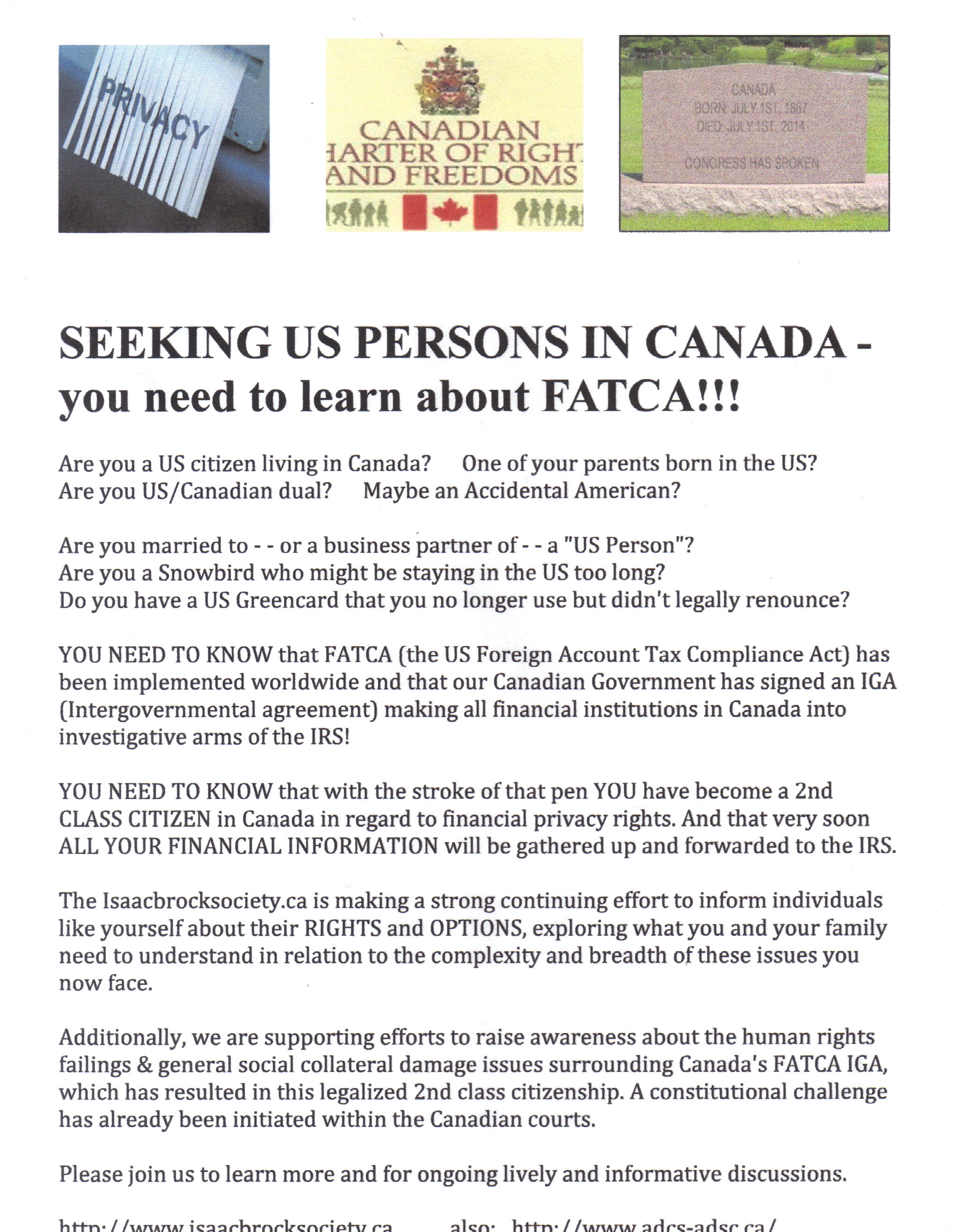 SEEKING US PERSONS IN CANADA flyer