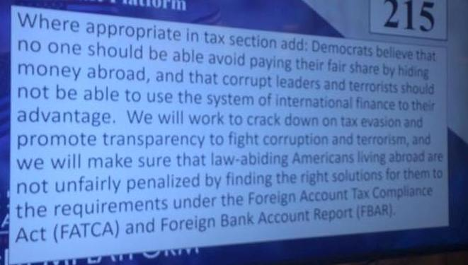 DNC platform, tries to modify FATCA