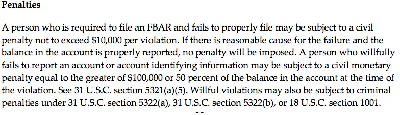 FBAR penalties